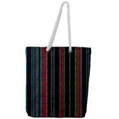 Multicolored Dark Stripes Pattern Full Print Rope Handle Tote (large)
