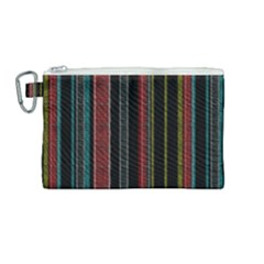 Multicolored Dark Stripes Pattern Canvas Cosmetic Bag (medium)