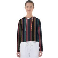 Multicolored Dark Stripes Pattern Women s Slouchy Sweat