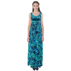 Teal Leafs Empire Waist Maxi Dress