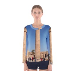 Temple Of Karnak Luxor Egypt  Women s Long Sleeve Tee