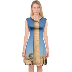 Temple Of Karnak Luxor Egypt  Capsleeve Midi Dress