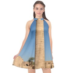 Temple Of Karnak Luxor Egypt  Halter Neckline Chiffon Dress