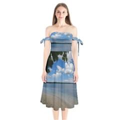 Isla Puerto Rico Shoulder Tie Bardot Midi Dress