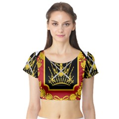 Logo Of Imperial Iranian Ministry Of War Short Sleeve Crop Top