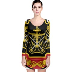 Logo Of Imperial Iranian Ministry Of War Long Sleeve Bodycon Dress