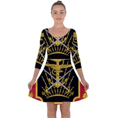Logo Of Imperial Iranian Ministry Of War Quarter Sleeve Skater Dress
