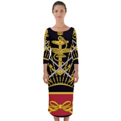 Logo Of Imperial Iranian Ministry Of War Quarter Sleeve Midi Bodycon Dress
