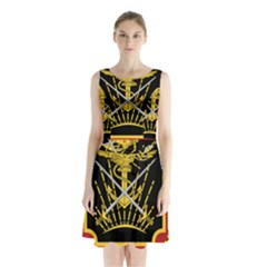 Logo Of Imperial Iranian Ministry Of War Sleeveless Waist Tie Chiffon Dress
