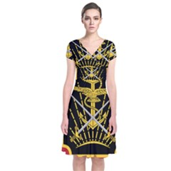 Logo Of Imperial Iranian Ministry Of War Short Sleeve Front Wrap Dress