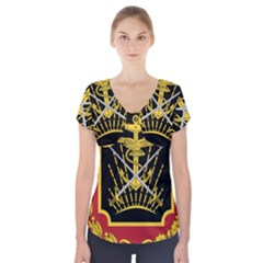 Logo Of Imperial Iranian Ministry Of War Short Sleeve Front Detail Top