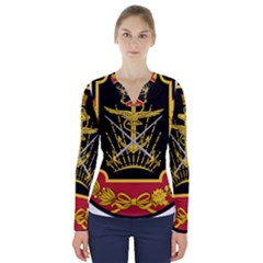 Logo Of Imperial Iranian Ministry Of War V Neck Long Sleeve Top
