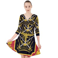 Logo Of Imperial Iranian Ministry Of War Quarter Sleeve Front Wrap Dress