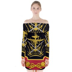 Logo Of Imperial Iranian Ministry Of War Long Sleeve Off Shoulder Dress