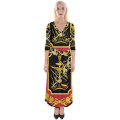 Logo Of Imperial Iranian Ministry Of War Quarter Sleeve Wrap Maxi Dress