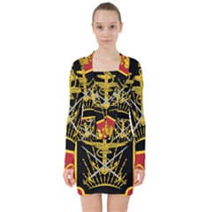 Logo Of Imperial Iranian Ministry Of War V Neck Bodycon Long Sleeve Dress