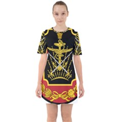 Logo Of Imperial Iranian Ministry Of War Sixties Short Sleeve Mini Dress