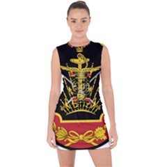Logo Of Imperial Iranian Ministry Of War Lace Up Front Bodycon Dress