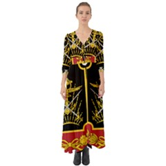 Logo Of Imperial Iranian Ministry Of War Button Up Boho Maxi Dress