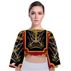 Logo Of Imperial Iranian Ministry Of War Tie Back Butterfly Sleeve Chiffon Top