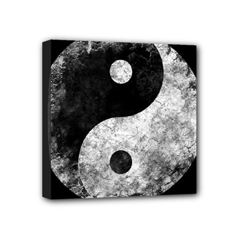 Grunge Yin Yang Mini Canvas 4  X 4