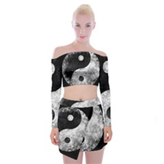 Grunge Yin Yang Off Shoulder Top With Mini Skirt Set