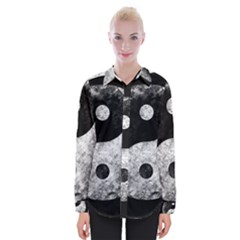Grunge Yin Yang Womens Long Sleeve Shirt