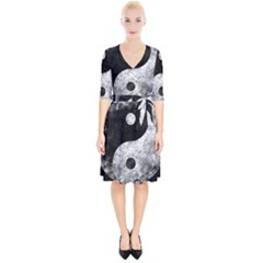 Grunge Yin Yang Wrap Up Cocktail Dress