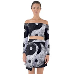 Grunge Yin Yang Off Shoulder Top With Skirt Set