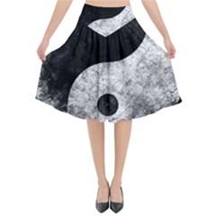 Grunge Yin Yang Flared Midi Skirt