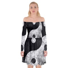Grunge Yin Yang Off Shoulder Skater Dress