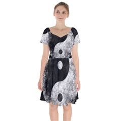 Grunge Yin Yang Short Sleeve Bardot Dress
