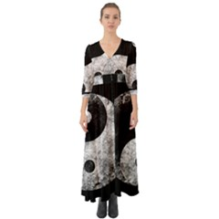 Grunge Yin Yang Button Up Boho Maxi Dress