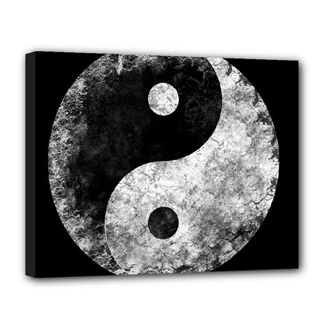Grunge Yin Yang Canvas 14  X 11