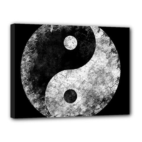 Grunge Yin Yang Canvas 16  X 12