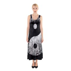 Grunge Yin Yang Sleeveless Maxi Dress