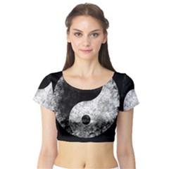 Grunge Yin Yang Short Sleeve Crop Top