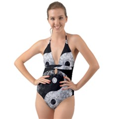 Grunge Yin Yang Halter Cut Out One Piece Swimsuit