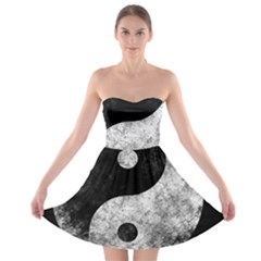 Grunge Yin Yang Strapless Bra Top Dress