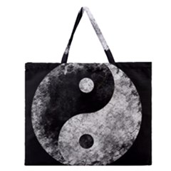 Grunge Yin Yang Zipper Large Tote Bag
