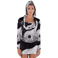 Grunge Yin Yang Long Sleeve Hooded T Shirt