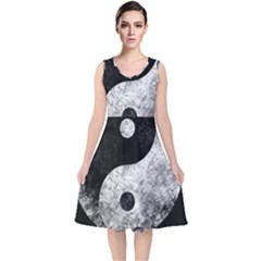 Grunge Yin Yang V Neck Midi Sleeveless Dress