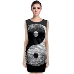 Grunge Yin Yang Classic Sleeveless Midi Dress