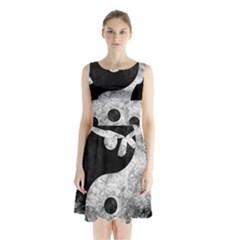 Grunge Yin Yang Sleeveless Waist Tie Chiffon Dress