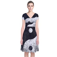 Grunge Yin Yang Short Sleeve Front Wrap Dress