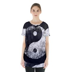 Grunge Yin Yang Skirt Hem Sports Top