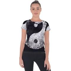 Grunge Yin Yang Short Sleeve Sports Top
