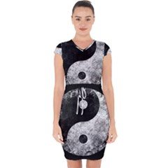 Grunge Yin Yang Capsleeve Drawstring Dress