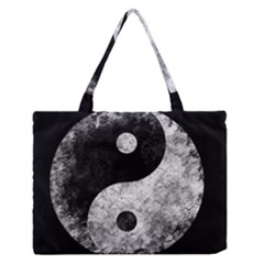 Grunge Yin Yang Zipper Medium Tote Bag