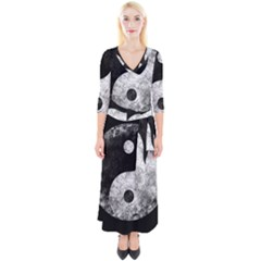 Grunge Yin Yang Quarter Sleeve Wrap Maxi Dress